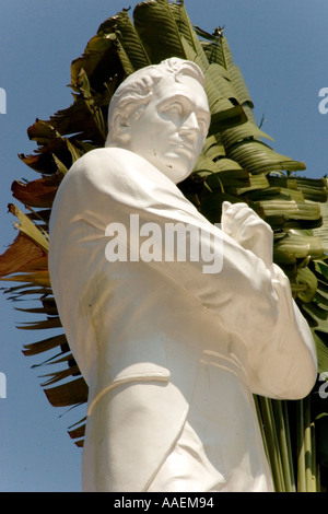 Statue of Sir Stamford Raffles at his landing site on the north side of the Singapore River Singapore - Stock Photo