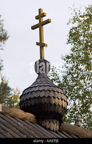 Wooden onion dome of Eastern Orthodox church at Bomba near Nurmes in Karelia Finland - Stock Photo