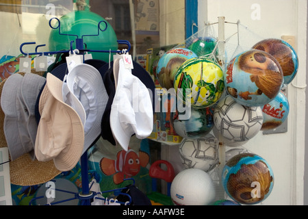 Balloons and hat shop on the french coast - Stock Photo