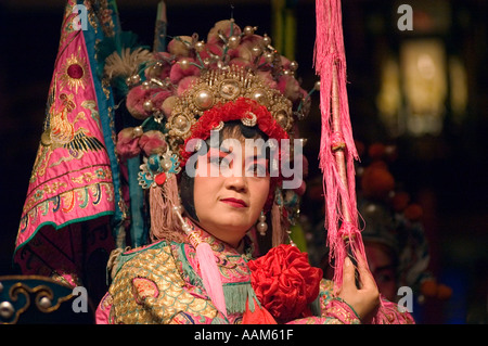 Female star in full costume preforms at the Chinese Opera Chengdu China in Sichuan Province - Stock Photo