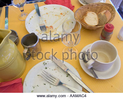 dinner table after lunch is finished - Stock Photo