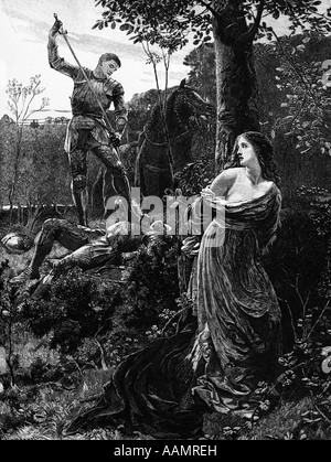 HISTORICAL ILLUSTRATION OF MEDIEVAL KNIGHT IN ARMOR RESCUE LADY IN DISTRESS CODE CHIVALRY MIDDLE AGES HERO ROMANCE - Stock Photo