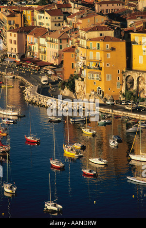 Beautiful coast view at Villefranche-sur-mer, Cote d'Azur, South of France in summer - Stockfoto