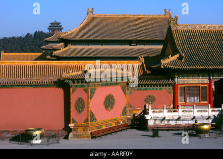 Porcelain decorative wall inside the Forbidden City former Imperial palace Beijing China - Stock Photo