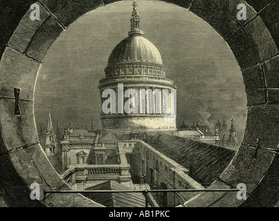 St Paul s Cathedral A view from the Belfry window - Stock Photo