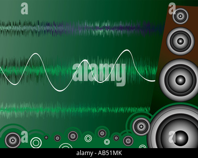 A moise related image showing a drawn speaker and sound waves - Stock Photo