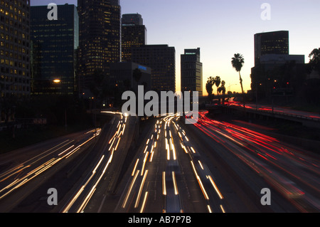 traffic downtown Los Angeles California - Stock Photo