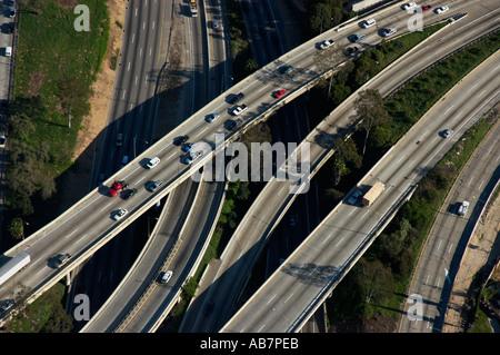 aerial freeways Los Angeles CA - Stock Photo