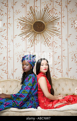 Two women in traditional clothing - Stock Photo