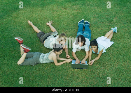 Group of young friends lying on grass, using laptop - Stockfoto