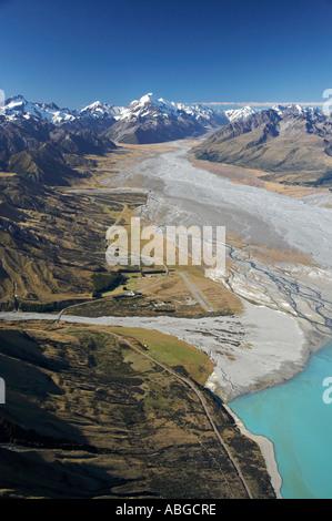 Aoraki Mt Cook Lake Pukaki and Tasman River South Canterbury South Island New Zealand aerial - Stock Photo