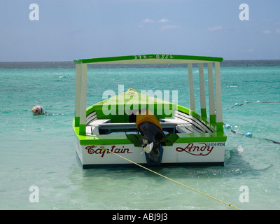 Glass bottom boat Negril Jamaica - Stock Photo