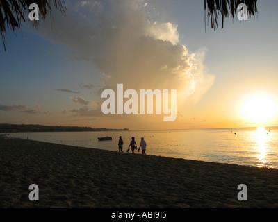 Sunset Seven Mile Beach Negril Jamaica - Stock Photo