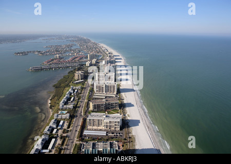 Aerial photo of Sand Key and Point Pleasant, Clearwater, Pinellas County, Gulf of Mexico, west coast, Florida - Stock Photo