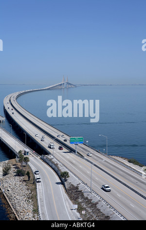 Scenic Aerial Photo Of Sunshine Skyway Bridge Fishing Pier