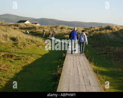 People Walking on wooden trackway through the dunes in the nature reserve at Ynyslas near Borth, Ceredigion west - Stock Photo
