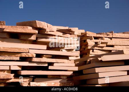 Stacks Of Flagstone Await Shipment Out Of Ash Fork Arizona