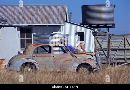 Abandoned car, Queensland, Australia, horizontal, - Stock Photo