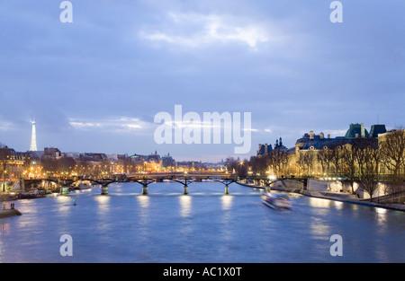 France, Paris, Seine, Pont des Arts bridge - Stock Photo
