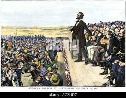 President Abraham Lincoln delivering the Gettysburg Address commemorating the battlefield 1863 - Stock Photo