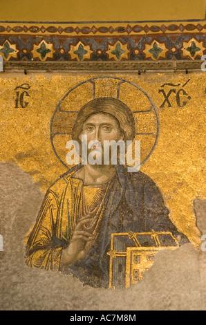 Aya Sofya (Hagia Sophia), Church of the Holy Wisdom, Byzantine mosaic of Jesus Christ in Istanbul Turkey - Stock Photo