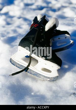 Skate lying on the snow. - Stockfoto