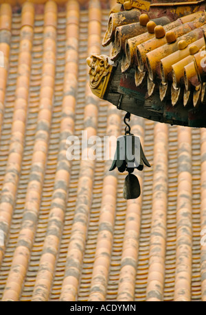 Bell and roof detail at Lama Temple Yonghegong in Beijing 2007 - Stock Photo