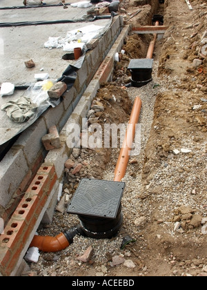 Part of foul drainage system for new house with plastic for Soil drainage system