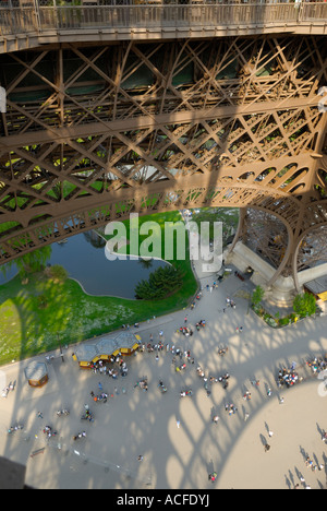 View from the first terrace of the the Eiffel tower in Paris, France, on a sunny summer day. - Stock Photo