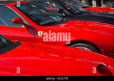 Red Italian Ferrari Sports Cars On Display At The Exotic