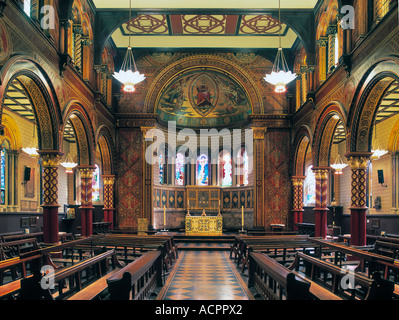 Byzantine interior of the Strand Chapel at Kings College London by George Gilbert Scott - Stock Photo