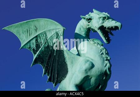 Dragon, Symbol of Ljubljana, Dragonbridge, Ljubljana Slovenia - Stock Photo