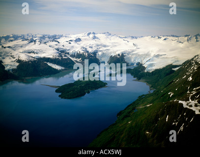 An aerial photograph of the Blackstone Glacier and the Blackstone Bay in Prince William Sound - Stock Photo