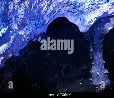 An aerial ortho photo of the Aialik Glacier in the Kenai Fjords National Park Alaska - Stock Photo