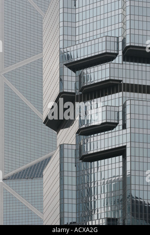 Architectural detail of the Lippo Building in Central, Hong Kong - Stock Photo