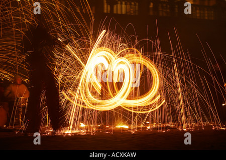Burning steel wool spinning by Fire Folk at The Forces of Light festival, Helsinki, Finland - Stock Photo