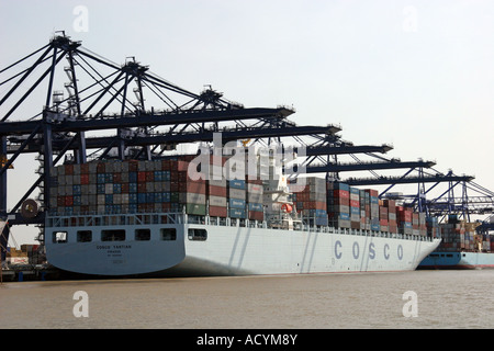 container ship at Felixstowe port - Stock Photo