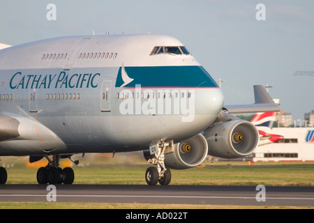 Close-up of Cathay Pacific Airways Boeing 747-467 at London Heathrow Airport England UK - Stock Photo