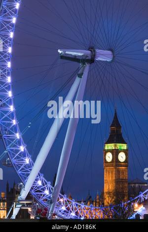 Big Ben & Millennium Wheel, South Bank, London, England - Stock Photo