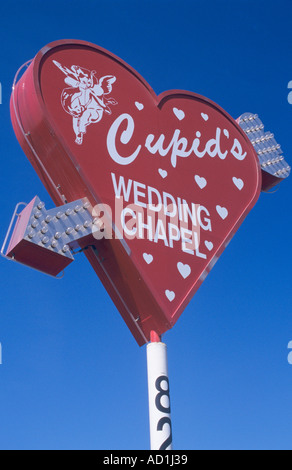 Cupids Wedding Chapel Sign Las Vegas USA - Stock Photo