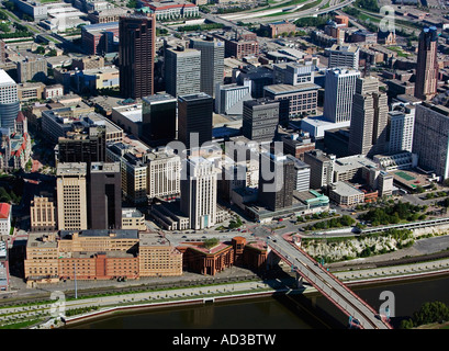 aerial view above Saint Paul Minnesota Mississippi river waterfront - Stock Photo