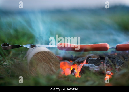 Sausages grilling over a fire - Stock Photo
