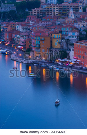 The waterfont at Villefranche sur Mer at night, Côte d'Azur, France - Stock Photo