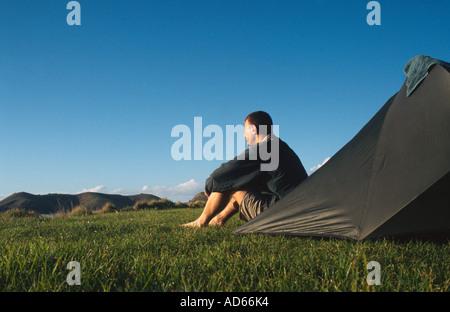 PICTURE CREDIT DOUG BLANE Doug Blane camping at Corromandal North Island New Zealand - Stock Photo