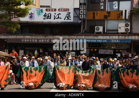 Japan Honshu Island Gifu prefecture Takayama City Autumn Festival procession in costume - Stock Photo