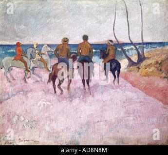 'fine arts, Gauguin, Paul, (1848 - 1903), painting, 'Cavaliers a la plage', ('riders on the beach'), 1902, oil on - Stock Photo