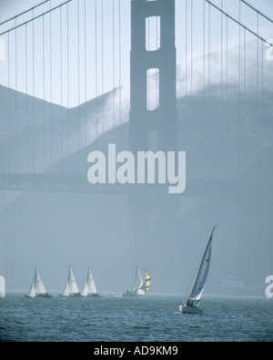 USA - CALIFORNIA:  Sailing under Golden Gate Bridge at San Francisco - Stock Photo