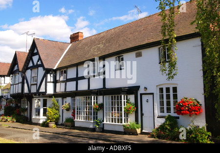 English village. Picturesque timber framed houses in the rural village of Weobley Herefordshire England UK - Stock Photo