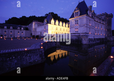 Loire Valley France Chateau de Villandry the gardens at night  - Stock Photo