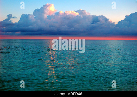 Waterline at dusk Freeport Bahamas - Stock Photo
